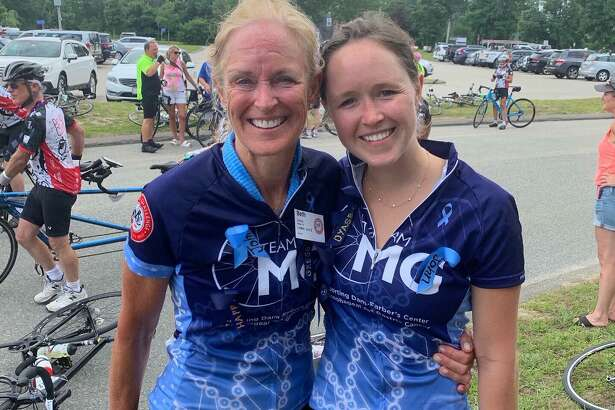 Beth Crump and her daughter Emily riding in the Pan-Mass Challenge