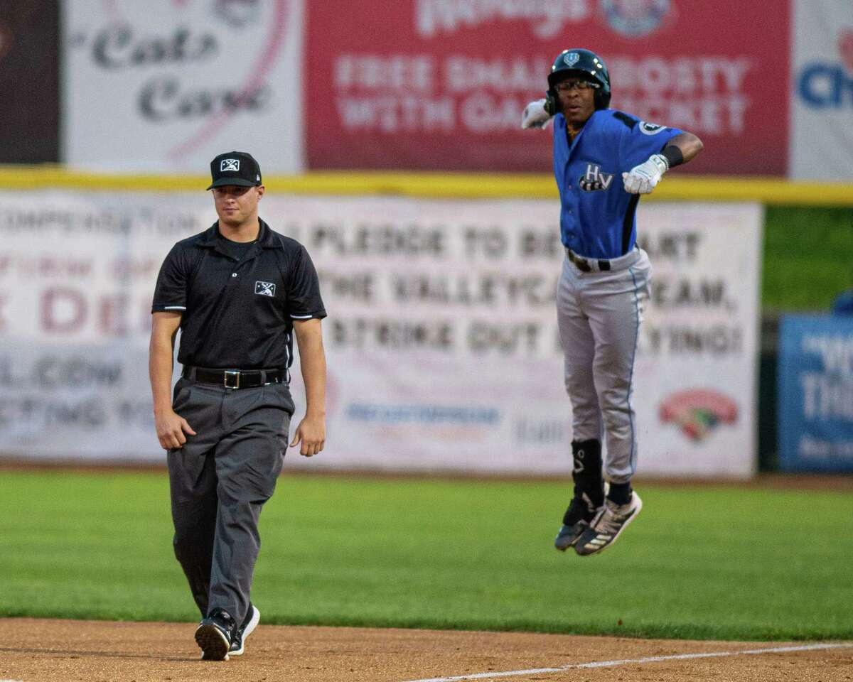 Hudson Valley Renegades shortstop Greg Jones didn't like the call during a game against the Tri-City ValleyCats at the Joseph L. Bruno Stadium in Troy, NY on Thursday, Aug. 22, 2019 (Jim Franco/Special to the Times Union.)