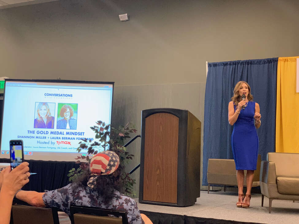 Olympic gold medalist Shannon Miller shares stories from her life as a record-breaking gymnast, public speaker and cancer survivor at the Albany Capital Center in Albany, New York on Thursday, Aug. 22, 2019. Her talk was one of a series of