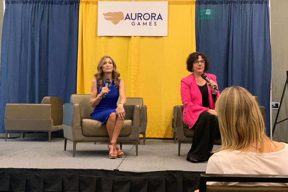 "Olympic gold medalist Shannon Miller shares stories from her life as a record-breaking gymnast, public speaker and cancer survivor at the Albany Capital Center in Albany, New York on Thursday, Aug. 22, 2019. Her talk was one of a series of ""Conversations with Champions"" hosted by the Aurora Games."