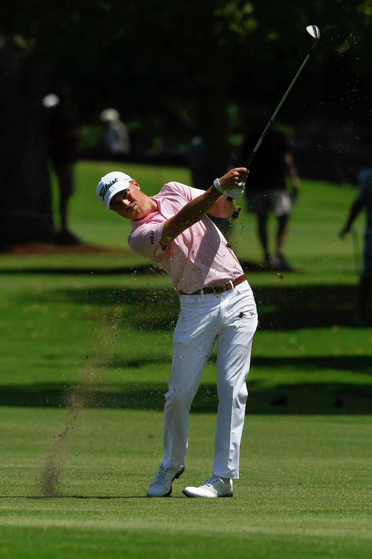 Justin Thomas hits from the third fairway during the first round of the Tour Championship golf tournament Thursday, Aug. 22, 2019, in Atlanta. (AP Photo/John Amis)