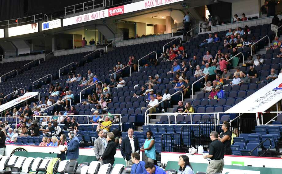 A small crowd watches a basketball game between Team World and Team Americas in the Aurora Games at the Times Union Center on Tuesday, Aug. 20, 2019 in Albany, N.Y. (Lori Van Buren/Times Union) Photo: Lori Van Buren, Albany Times Union / 20047633A
