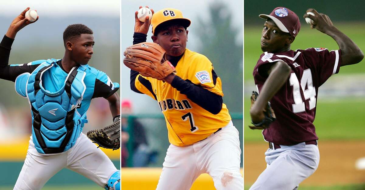 (Left ) Jurdrick Profar #13 of the Caribbean Region throws to first base for an out during Game 1 of the 2019 Little League World Series against the Australia Region at Volunteer Stadium on Thursday, August 15, 2019 in South Williamsport, Pennsylvania. (center) Juremi Profar #7 of the Caribbean team from Willemstad, Curacao throws to first for an out against the Canadian team from White Rock, British Columbia during their tournament game in the Little League World Series on August 22, 2007 at Volunteer Stadium in South Williamsport, Pennsylvania. (right) Jurickson Profar #14 of the Caribbean delivers a pitch in the first inning during the International Final of the Little League World Series on August 27, 2005 at Lamade Stadium in South Williamsport, Pennsylvania. The Caribbean team from Curacao defeated the Asia team from Japan 2-0.
