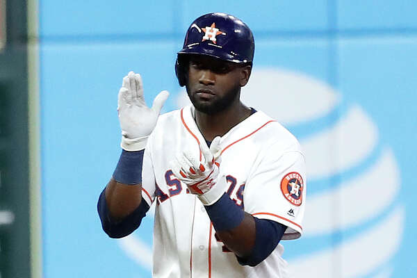Houston Astros Yordan Alvarez (44) stands on second base after hitting an RBI double in the sixth inning of an MLB game at Minute Maid Park, Thursday, August 22, 2019.