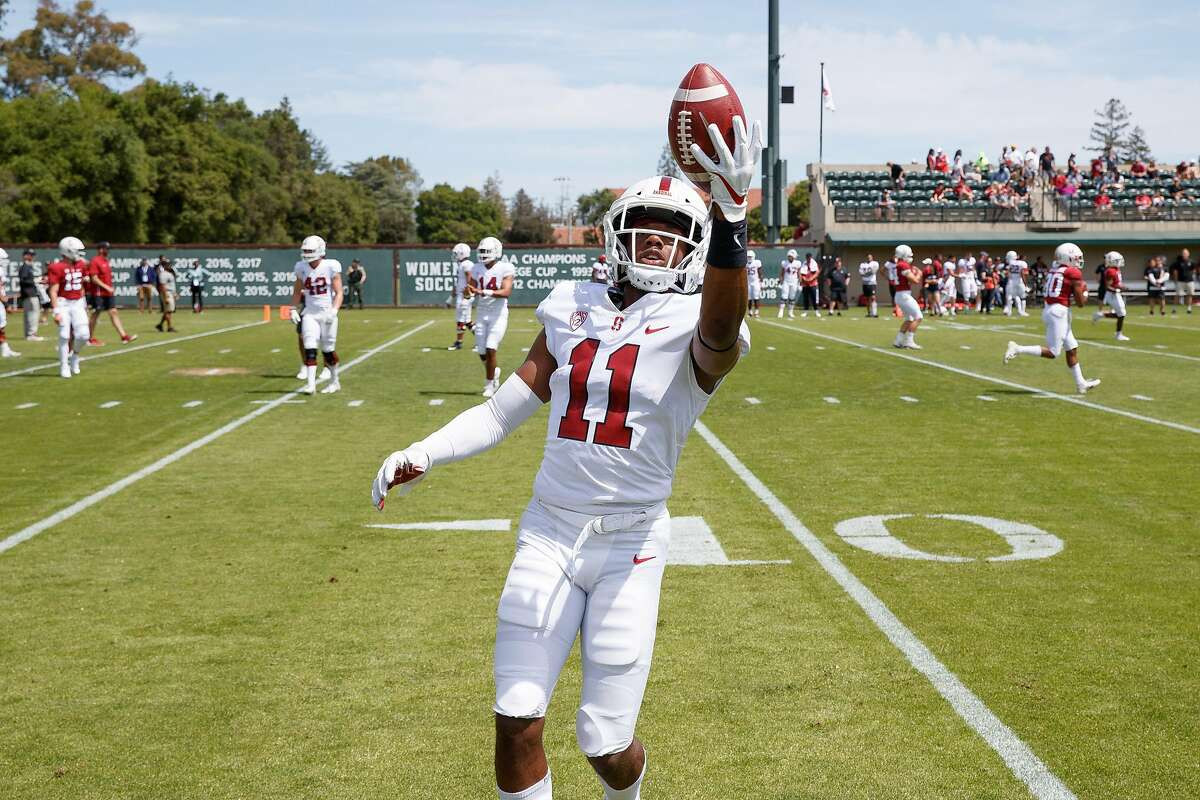 Stanford, CA - April 13, 2019: Stanford Cornerback Paulson Adebo catches a call during the Cardinal and White Spring Game at Cagan Stadium.