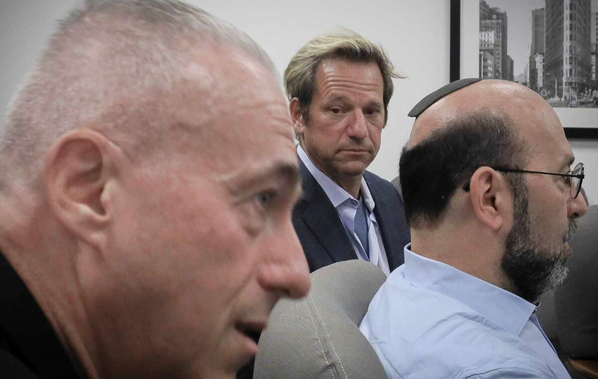 Barry Singer, left, David Bressler, center, and Jay Goldberg, right, who say they were sexually abused while they were students at Marsha Stern Talmudical Academy (MTA)a€?