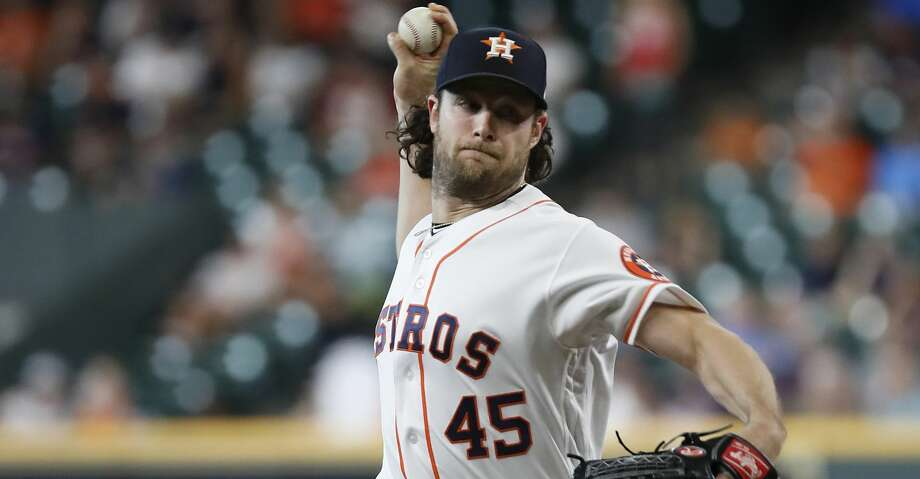 Houston Astros starting pitcher Gerrit Cole (45) pitches in the first inning of an MLB game at Minute Maid Park, Thursday, August 22, 2019. Photo: Karen Warren/Staff Photographer