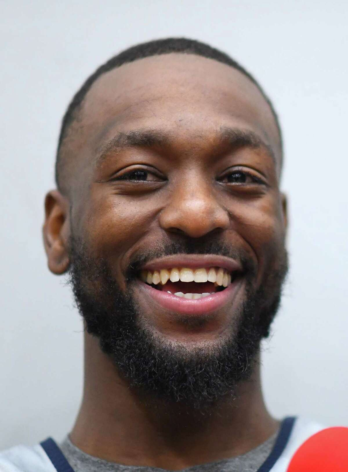 MELBOURNE, AUSTRALIA - AUGUST 20: Kemba Walker of the USA talks to the media during a Team United State of America National Basketball team training session at Melbourne Sports and Aquatic Centre on August 20, 2019 in Melbourne, Australia. (Photo by Quinn Rooney/Getty Images)