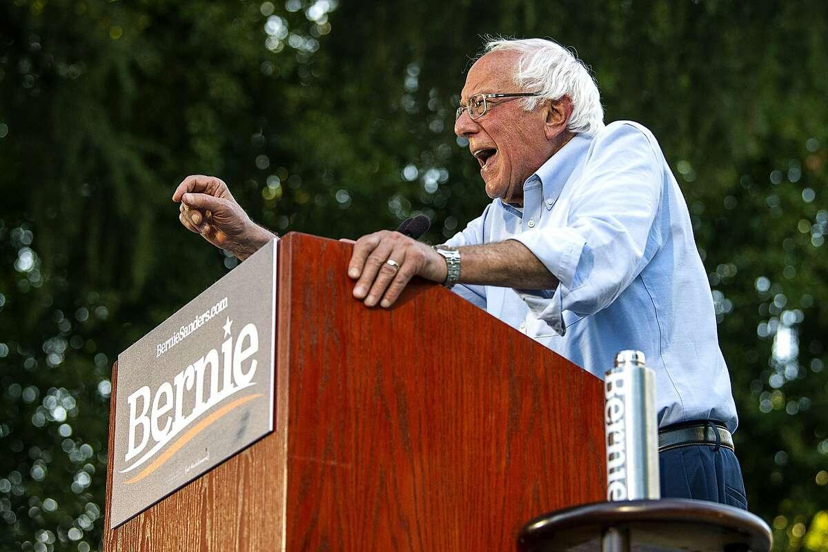 Democratic presidential hopeful Sen. Bernie Sanders campaigns during a rally at Cesar Chavez Plaza on Thursday, Aug. 22, 2019, in Sacramento, Calif. (Paul Kitagaki Jr./The Sacramento Bee via AP)