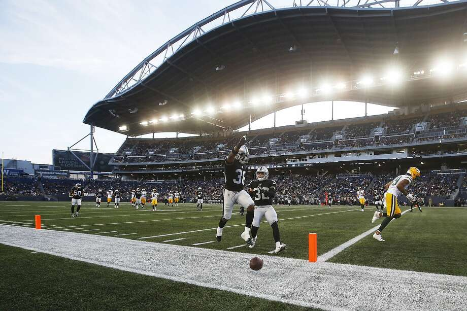 Oakland Raiders' Keisean Nixon (38) celebrates after knocking away a pass in the end zone intended for Green Bay Packers' Equanimeous St. Brown (19) during the first half of an NFL preseason football game Thursday, Aug. 22, 2019, in Winnipeg, Manitoba. (John Woods/The Canadian Press via AP) Photo: John Woods / Associated Press