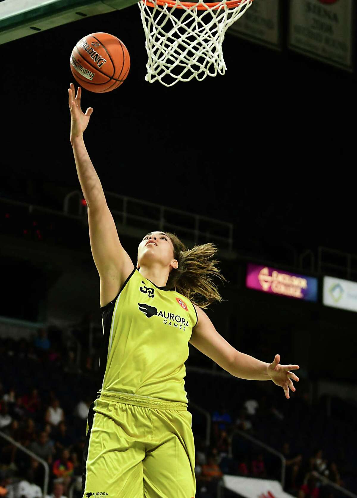 Team World's Kalani Purcell makes a layup during a basketball game against Team Americas in the Aurora Games at the Times Union Center on Tuesday, Aug. 20, 2019 in Albany, N.Y. (Lori Van Buren/Times Union)