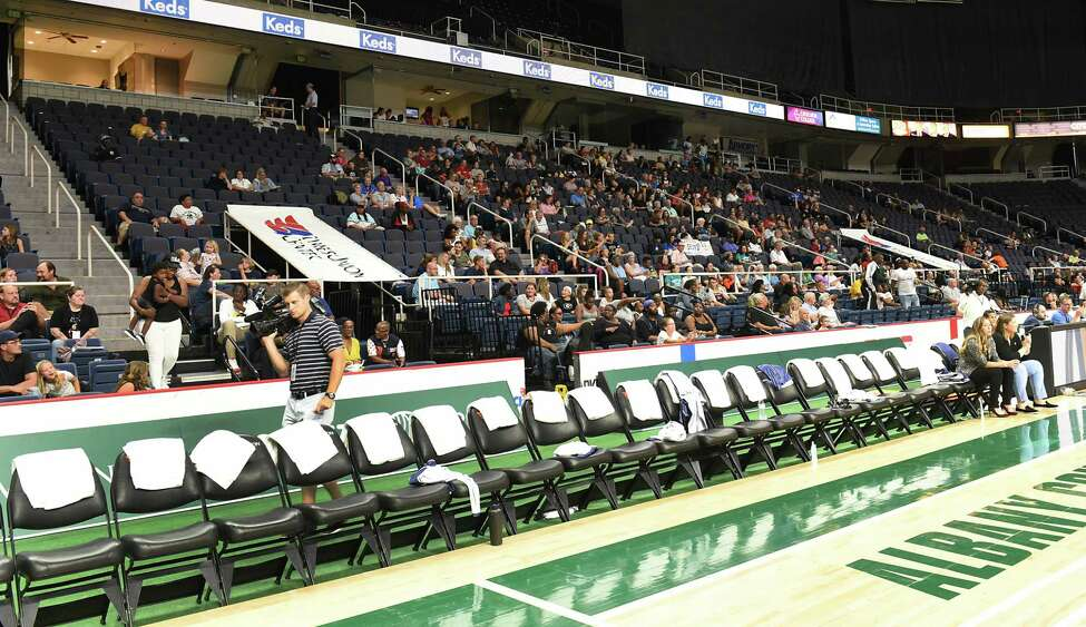 A small crowd watches a basketball game between Team World and Team Americas in the Aurora Games at the Times Union Center on Tuesday, Aug. 20, 2019 in Albany, N.Y. (Lori Van Buren/Times Union)