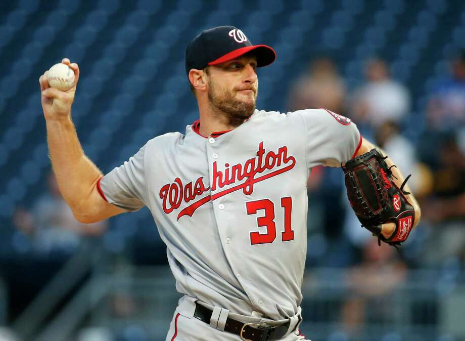 PITTSBURGH, PA - AUGUST 22:  Max Scherzer #31 of the Washington Nationals pitches in the first inning against the Pittsburgh Pirates at PNC Park on August 22, 2019 in Pittsburgh, Pennsylvania.  (Photo by Justin K. Aller/Getty Images) Photo: Justin K. Aller / 2019 Getty Images