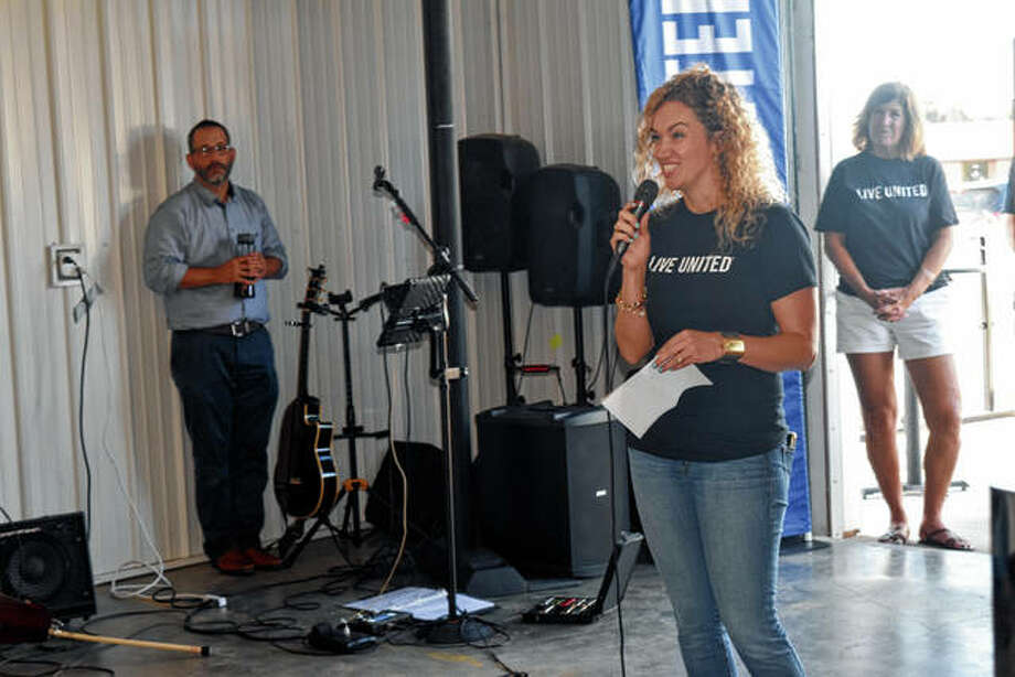 Nicole Meyer, co-chair of the 2019 United Way campaign, speaks during the campaign kickoff Thursday. Photo: Marco Cartolano | Journal-Courier