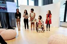 Riya Krishnan and a team member pitching Wavve at the 2019 Ann Taylor HERlead leadership forum in New York City this past June. The other three girls were other HERlead fellows that were pitching their organizations.