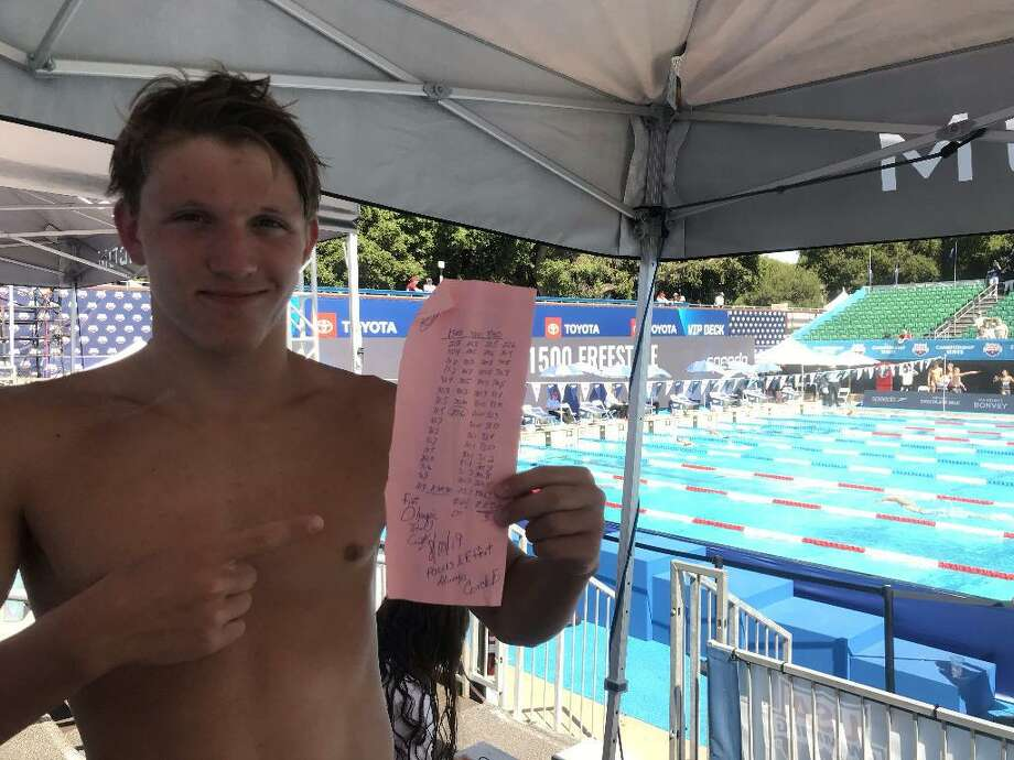 Connor Hunt displays his U.S. Olympic Trials cut time in the men's 800-meter freestyle. Photo: Contributed Photo / Ridgefield Aquatic Club