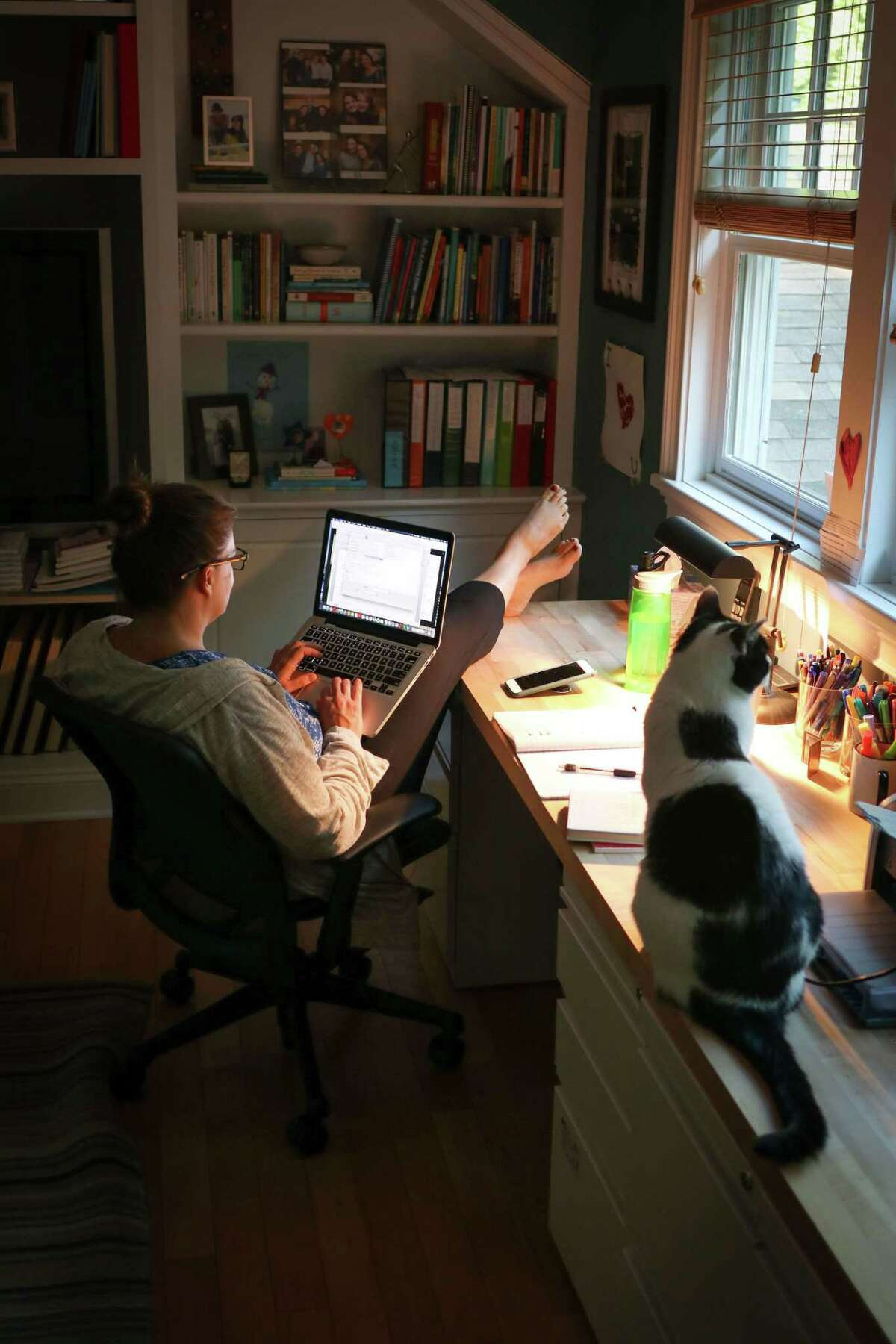 Suzanne Farrell Smith is working on her third book at her home in Wilton.