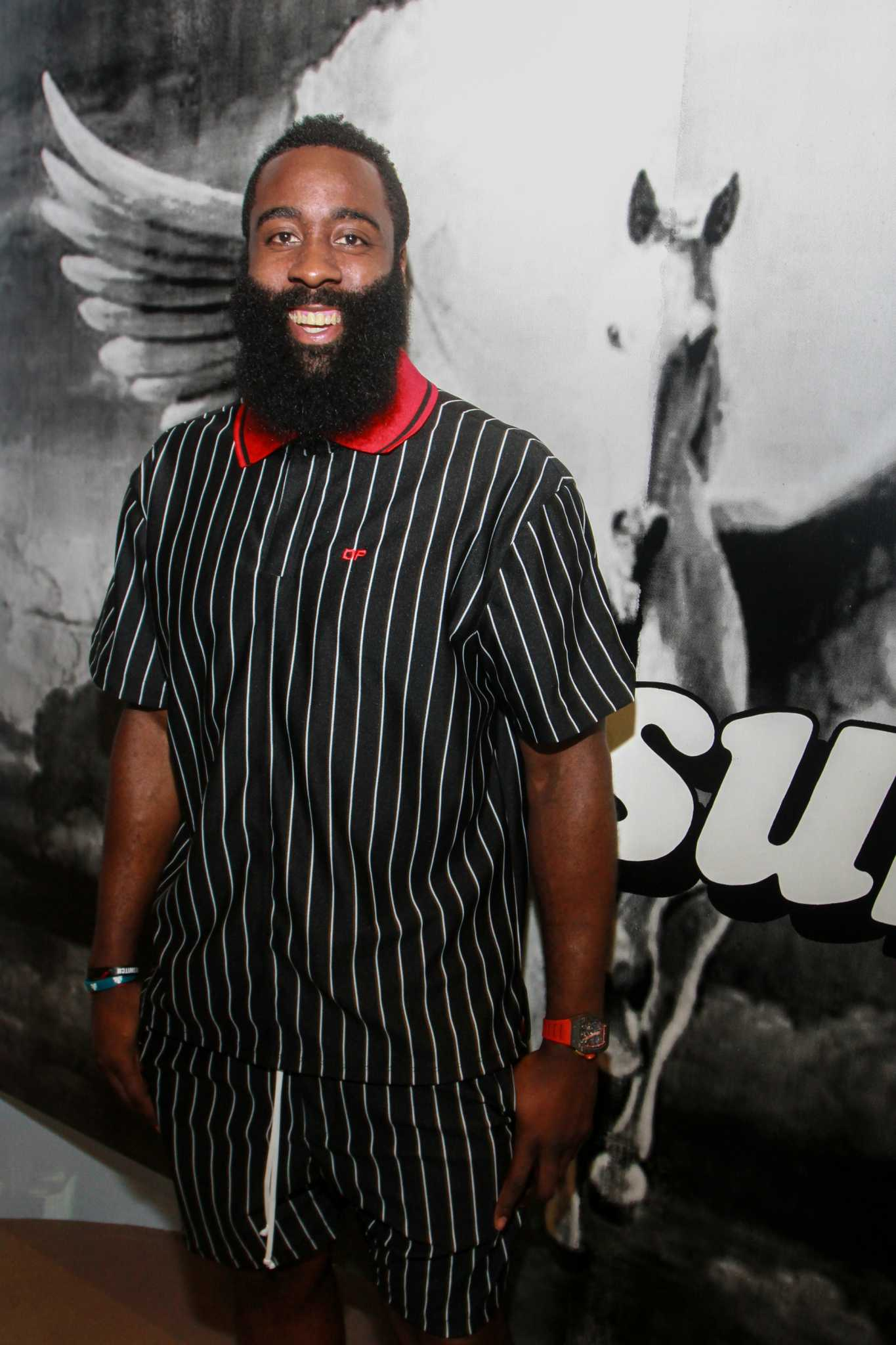 James Harden shows up fashionably late to VIP JH-Town Weekend Kick-Off party in Galleria