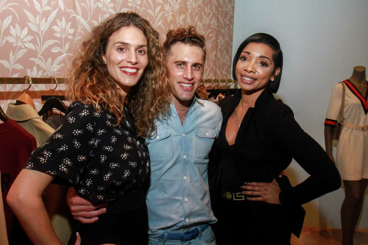 Cecile Levinger, from left, Michael Mandola and Britney Sumpter at the Webster where James Harden hosted family and friends to kick off his annual James Harden Weekend Celebrations on August 22, 2019.