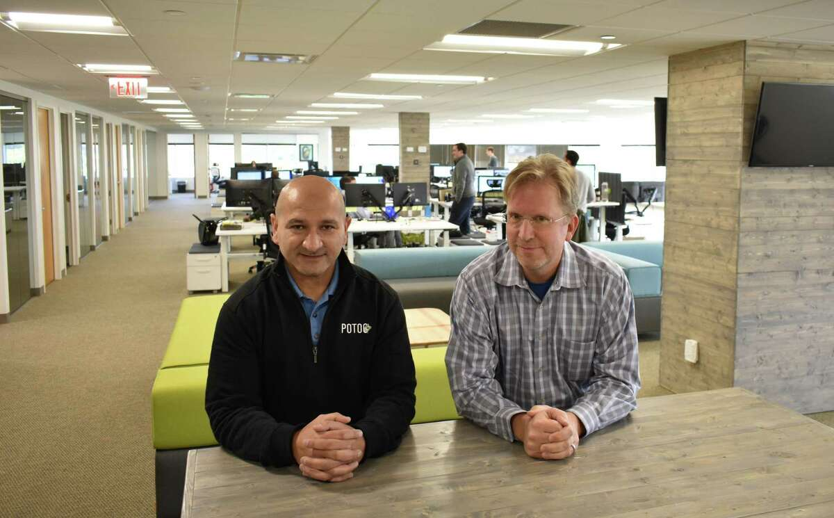 Potoo CEO Fred Dimyan, left, with David Veber, chief operating officer, in the company's offices at 40 Richards Ave. in Norwalk, Conn., on Nov. 8, 2017. Potoo, which specializes in online market insights, led all Connecticut-based companies on the 2019 Inc. 5000 list, with a ranking of No. 122.
