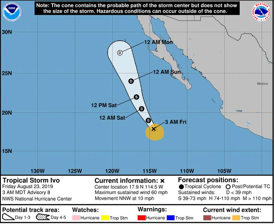 """Here is the latest forecast track for Tropical Storm Ivo as it moves west of Baja. Why are we watching Ivo so closely? Eventually its remnants should make it to the Bay Area by later Tuesday or Weds of next week with increasing cloudiness,"" the National Weather Service Bay Area tweeted on Friday. Photo: National Weather Service"