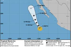 """Here is the latest forecast track for Tropical Storm Ivo as it moves west of Baja. Why are we watching Ivo so closely? Eventually its remnants should make it to the Bay Area by later Tuesday or Weds of next week with increasing cloudiness,"" the National Weather Service Bay Area tweeted on Friday."
