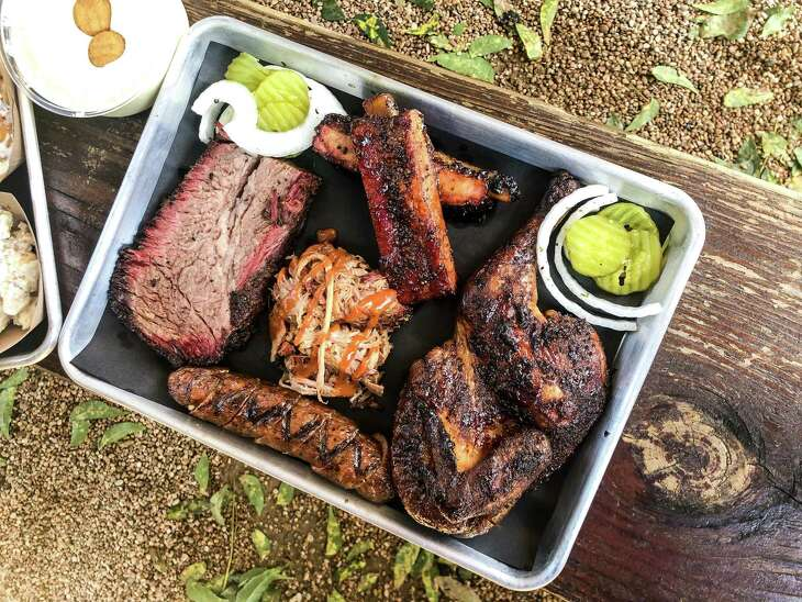 Brisket, ribs. pulled pork, sausage and chicken at Brett's Backyard Bar-B-Que in Rockdale