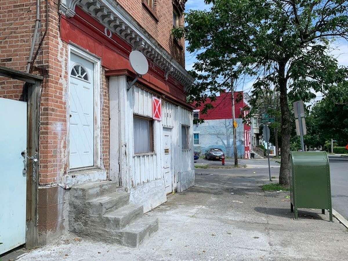 A two-story building at 185 Second Ave. is affixed with an 'X' placard in Albany on Thursday, Aug. 22, 2019. The property owner, Gil Teva, said the building isn't vacant and wants the placard removed. (Amanda Fries / Times Union)