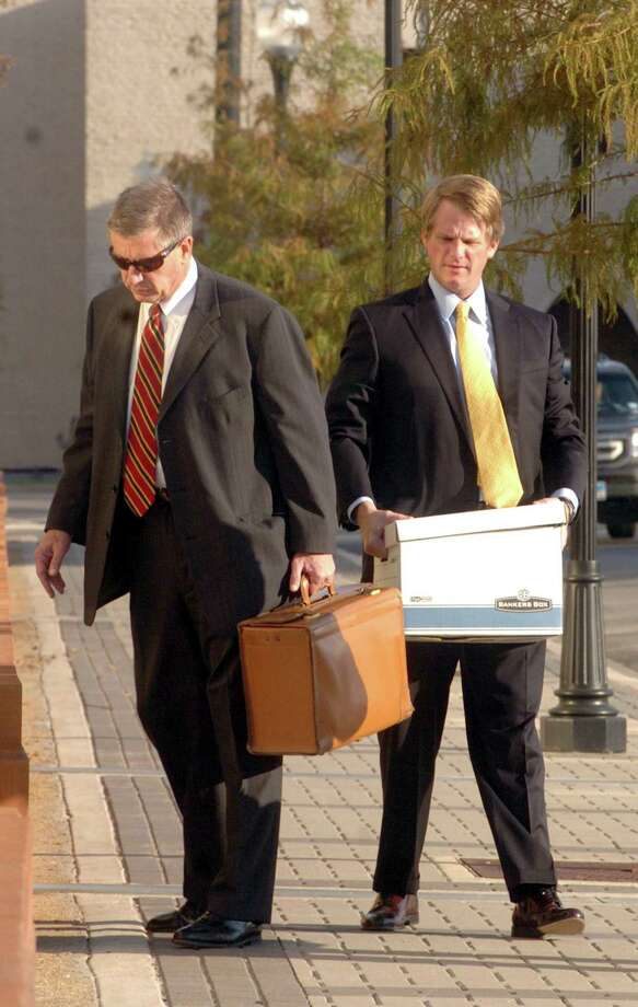 Attorneys David Bernsen, left, and Cade Bernsen arrive at the Jack Brooks Federal Courthouse Tuesday morning for a hearing on an injuction that would stop a recall election currently set for Nov. 8 in Jasper. Pete Churton/The Enterprise Photo: Pete Churton / Pete Churton/Pete Churton