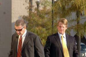 Attorneys David Bernsen, left, and Cade Bernsen arrive at the Jack Brooks Federal Courthouse Tuesday morning for a hearing on an injuction that would stop a recall election currently set for Nov. 8 in Jasper. Pete Churton/The Enterprise