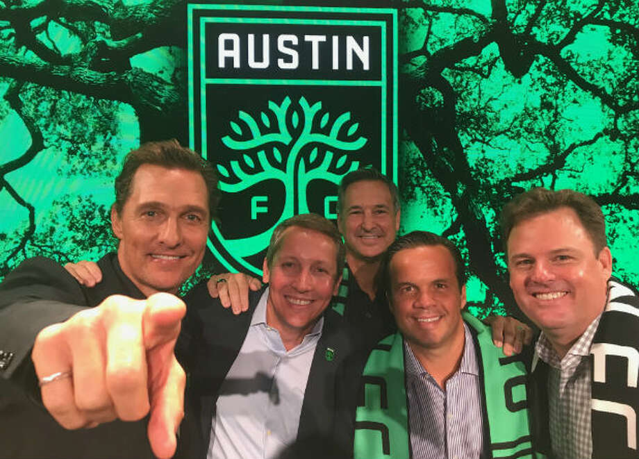 Austin FC owners Matthew McConaughey, Eddie Margain, Marius Haas and Anthony Precourt/MLS.>>>See 