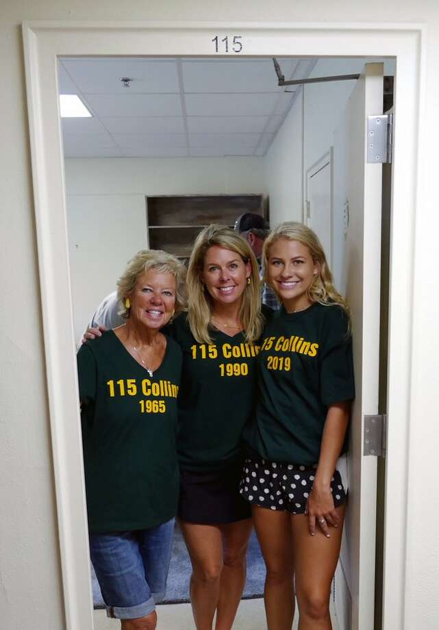 Three generations of women from the same family have now occupied Room 115 of Collins Hall at Baylor University. New freshman Brooke Altman (right), her mother, SueAnn Altman (center), and her grandmother, Sue Steakley (left). Photo: Courtesy