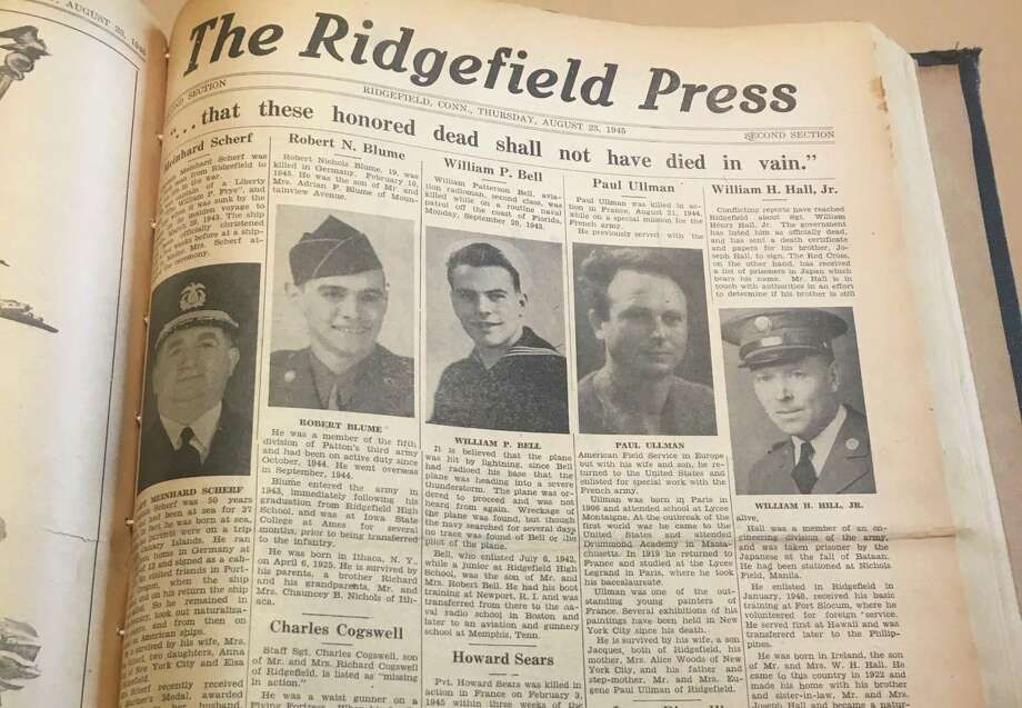 """...that these honored dead shall not have died in vain,"" the top headline of the Ridgefield Press' Victory Edition read on Aug. 23, 1945. Photo: Stephen Coulter / Hearst"