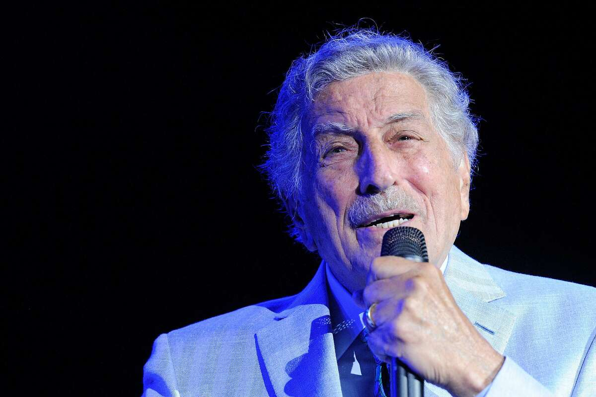 """FILE - Singer Tony Bennett performs on stage during an invitation-only concert at the newly opened Encore Boston Harbor Casino in Everett, Mass. in this Aug. 8, 2019 file photo. Bennett canceled his Sept. 10 show at the Fox Theater in Oakland due to an """"unexpected illness,"""" according to a post on the venue's website."""