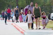 on the first day of school for Conroe ISD at Suchma Elementary, Wednesday, Aug. 14, 2019, in Conroe.