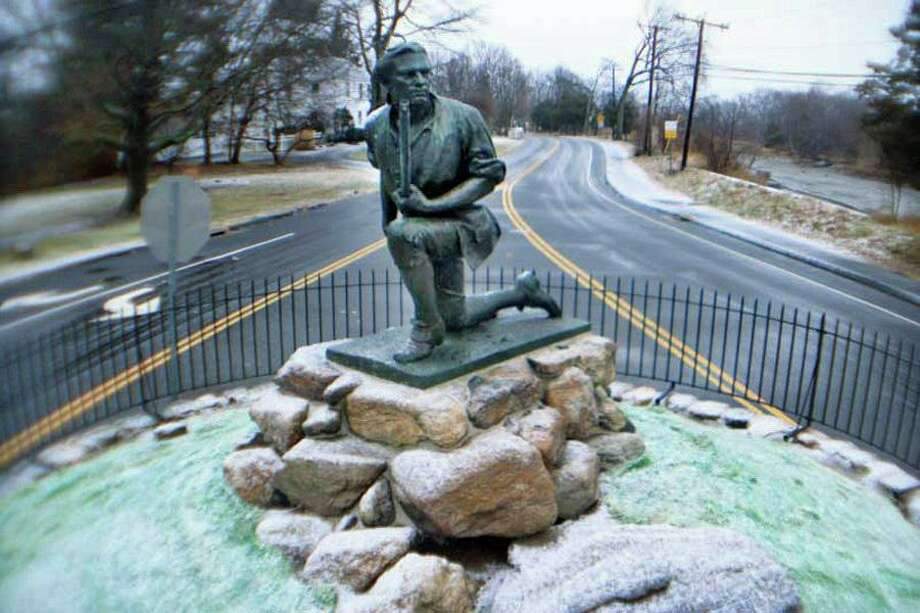 The Minuteman Monument at the intersection of Compo Road South and Compo Beach Road in Westport. Photo: Larry Silver / Contributed Photo