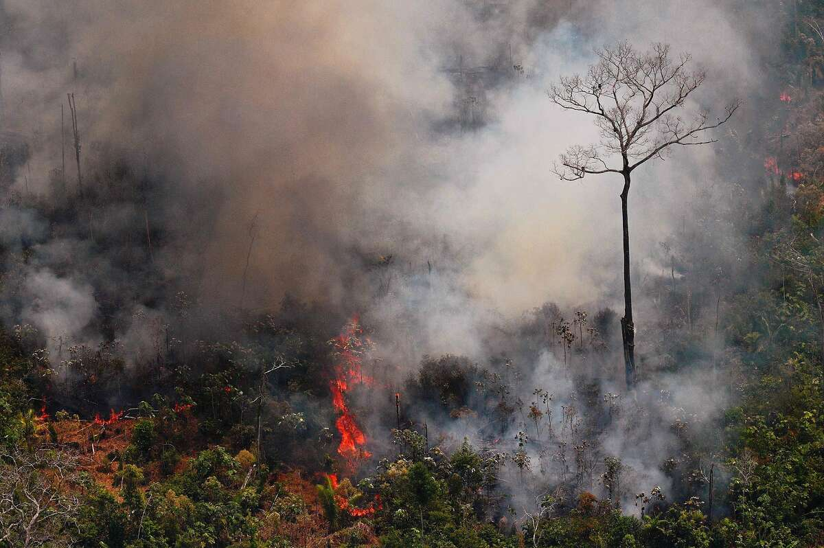 Aerial picture showing a fire raging in the Amazon rainforest about 65 km from Porto Velho, in the state of Rondonia, in northern Brazil, on August 23, 2019. - Bolsonaro said Friday he is considering deploying the army to help combat fires raging in the Amazon rainforest, after news about the fires have sparked protests around the world. The latest official figures show 76,720 forest fires were recorded in Brazil so far this year -- the highest number for any year since 2013. More than half are in the Amazon.