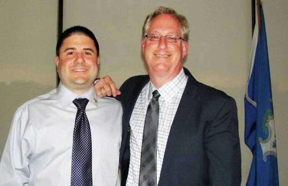 From left are Middlesex United Way campaign Co-Chairman Joe Santaniello, who will be the subject of a roast in October, and agency President and CEO Kevin Wilhelm. Photo: Contributed Photo