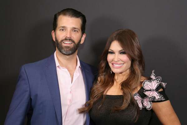 Donald Trump Jr. and Kimberly Guilfoyle pose backstage Gallery II in Spring Studios after the Zang Toi runway show during New York Fashion Week: The Shows at Spring Studios on February 13, 2019 in New York City.