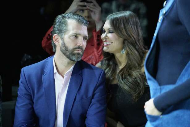 Donald Trump Jr. and Kimberly Guilfoyle attend the Zang Toi runway show in Gallery II in Spring Studios during New York Fashion Week: The Shows at Spring Studios on February 13, 2019 in New York City.