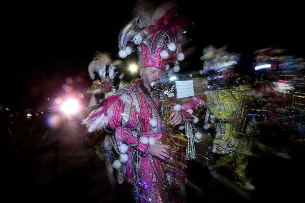 The Philadelphia Mummers perform during the Mardi Gras grand parade and festivities on Procter Street in Port Arthur Saturday. Photo taken Saturday, March 2, 2019 Kim Brent/The Enterprise
