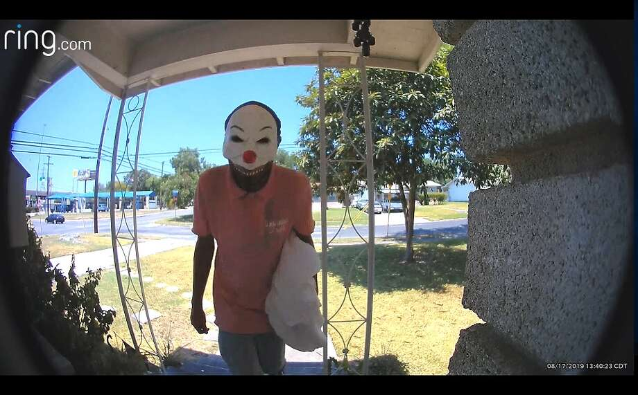 """A man wearing a clown mask approached a San Antonio home in broad daylight last week, saying """"trick-or-treat"""" while knocking on the door, according to a Ring home surveillance video that was sent to mySA.com. Photo: Ring"""