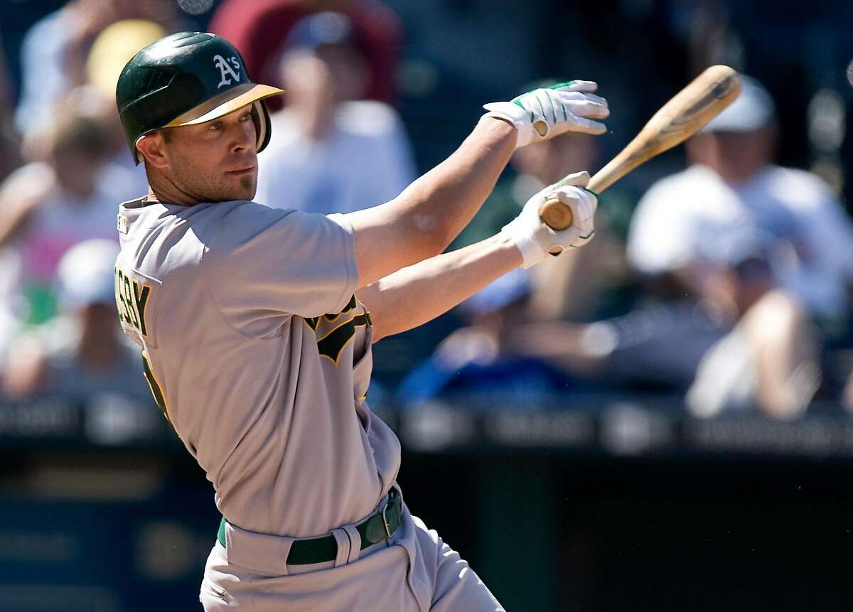 Oakland Athletics' Bobby Crosby drives the ball over the right field wall for a home run in the ninth inning of a baseball game against the Kansas City Royals Sunday, Aug. 9, 2009, in Kansas City, Mo. The Athletics won 6-3. (AP Photo/Ed Zurga)