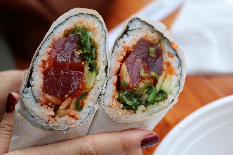 Sushi Burritos, goPoke: Because why not marry the beloved Mexican roll-up with the Hawaiian fillings? Sushi Burritos are the hot take nowadays when bite-sized sushi simply isn't enough in the International District. Wallingford's45th Stop N Shop and Poke Bar is also drawing in Seattleites for a bite. Photo: Frank E Via Yelp