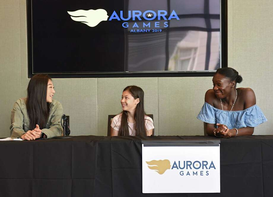 Figure skaters, from left, Mirai Nagasu (U.S), Alysa Liu (U.S.) and MaA½-BA½rA½nice MA½itA½ (France) answer questions during the Aurora Games daily press conference at the Albany Capital Center on Friday, Aug. 23, 2019 in Albany, N.Y. (Lori Van Buren/Times Union) Photo: Lori Van Buren / 20047680A