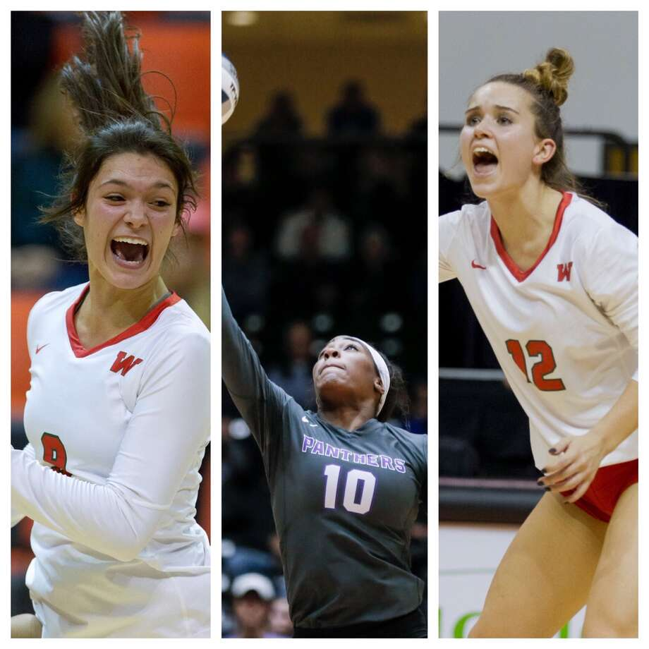 The Woodlands' Dylan Mayberry (left), Ridge Point's Reagan Rutherford (center) and The Woodlands' Clara Brower all made the MaxPreps 2019 preseason high school volleyball All-American team. Photo: Houston Chronicle