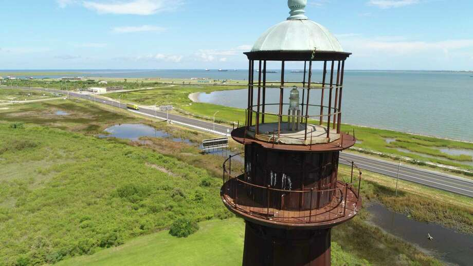 The Bolivar Lighthouse as seen from the air on Tuesday. Photo taken on Tuesday, 8/6/19. Ryan Welch/The Enterprise Photo: Drone Image: Ryan Welch, Beuamont Enterprise / The Enterprise / ©Ryan Welch