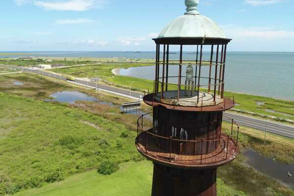 The Bolivar Lighthouse as seen from the air on Tuesday. Photo taken on Tuesday, 8/6/19. Ryan Welch/The Enterprise