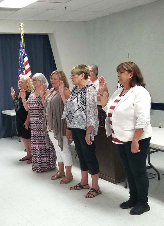New officers for the Edwardsville American Legion Post #199 Auxiliary are sworn in during the installation ceremony on Sunday. Photo: For The Intelligencer