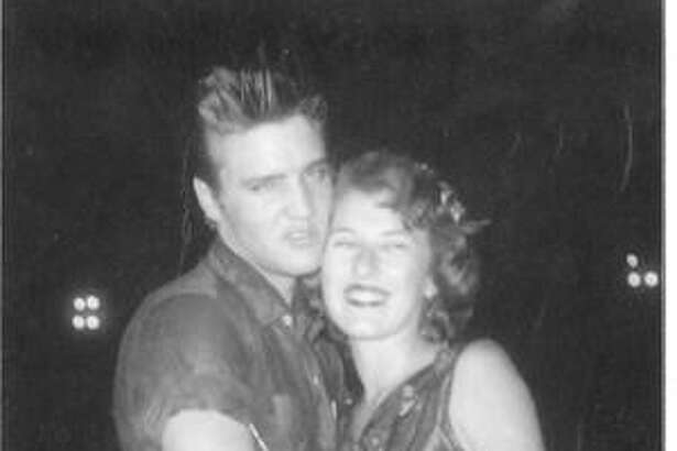 Local radio personality Mary McCoy, right, with the one and only Elvis when he was in Conroe as a part of the Louisiana Hayride Tour on Aug. 24, 1955. McCoy was a teenager at the time and still continues her radio career on KSTAR today.